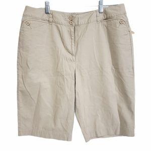 Talbots Plus Size Tan Bermuda Shorts NWT Size 14